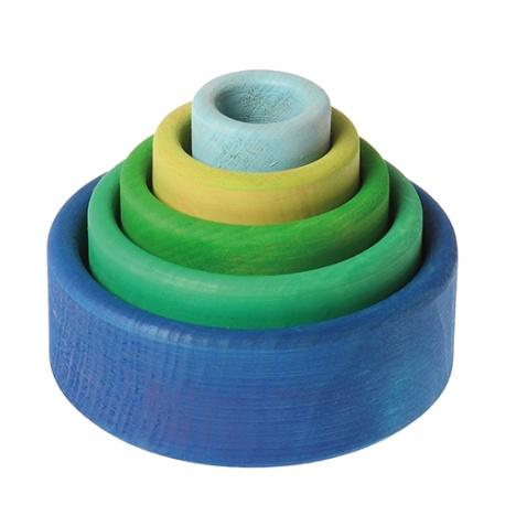 Schälchensatz, ozeanblau